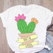 Load image into Gallery viewer, Women Graphic Cactus Plant Flower Printing Camisas Lady Print Summer Lady Tops T-Shirt Shirt Womens Clothing Tees Female T Shirt