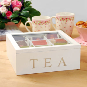 Wooden Tea Box With Lid 9-Compartment