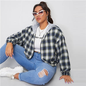 SHEIN Plus Size Contrast Drawstring Hooded Tartan Jacket Women Autumn Long Sleeve Drop Shoulder Coat Plaid Casual Plus Jackets