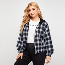 Load image into Gallery viewer, SHEIN Plus Size Contrast Drawstring Hooded Tartan Jacket Women Autumn Long Sleeve Drop Shoulder Coat Plaid Casual Plus Jackets