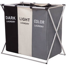 Load image into Gallery viewer, Laundry Organizer Bag Dirty Laundry Hamper Collapsible Home Laundry Basket Three Grid Water Proof Storage Bag Laundry Sorter