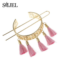 Load image into Gallery viewer, Hair Sticks Feather Bun Cuff Leaf HairPin Women Unique Wedding Hair Accessories for Girls Boho Tassel Hair Pins  Femme Jewelry