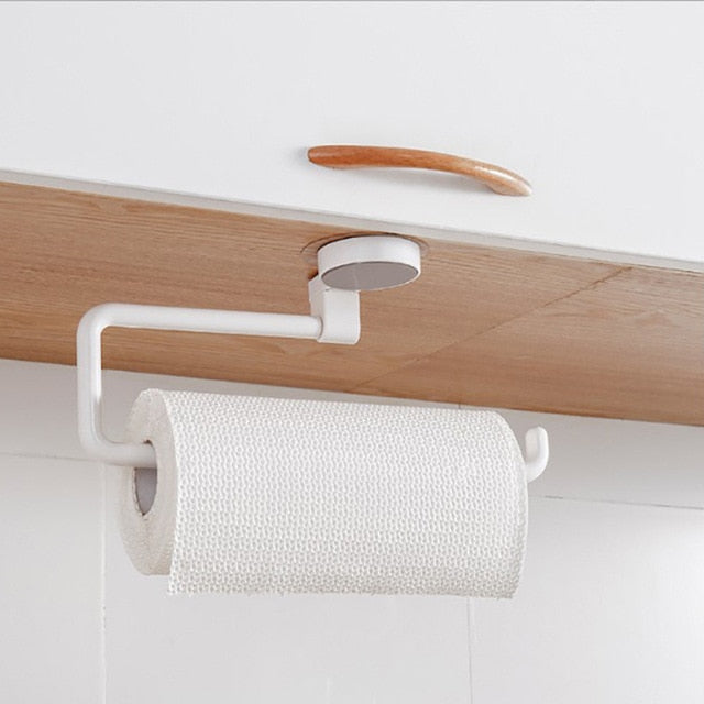 Home Storage Kitchen Paper Holder Sticke Rack Roll Holder  Bathroom Towel Rack Tissue Shelf Organizer Box