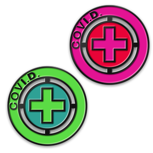 COVID-19 ID Buttons and wrist bands are bright and tell others you are SOCIAL DISTANCING during the corona virus pandemic | COVI.D. | C19ID Project | #C19ID