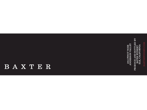 Baxter, 2012 Pinot Noir, Anderson Valley