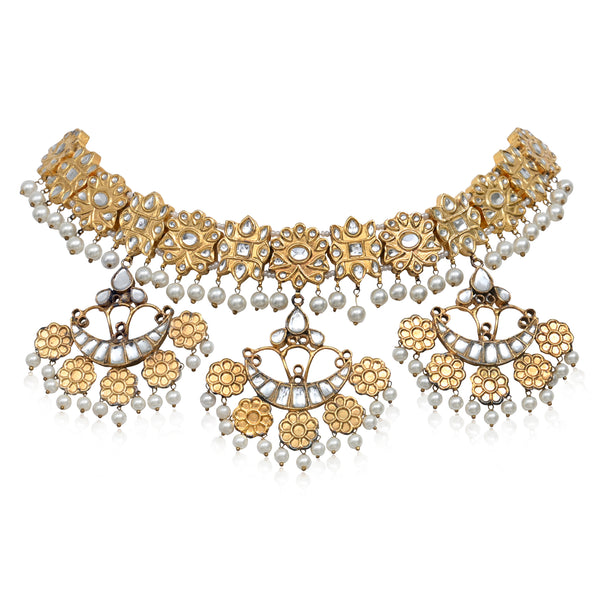 TRIPLE CHAND PHOOL NECKLACE