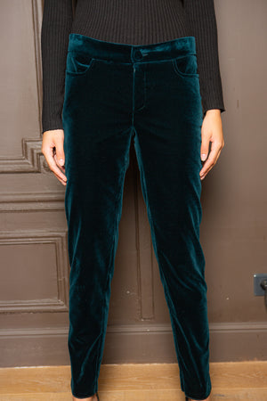 VELVET SKINNY PANTS WITH JEAN POCKET