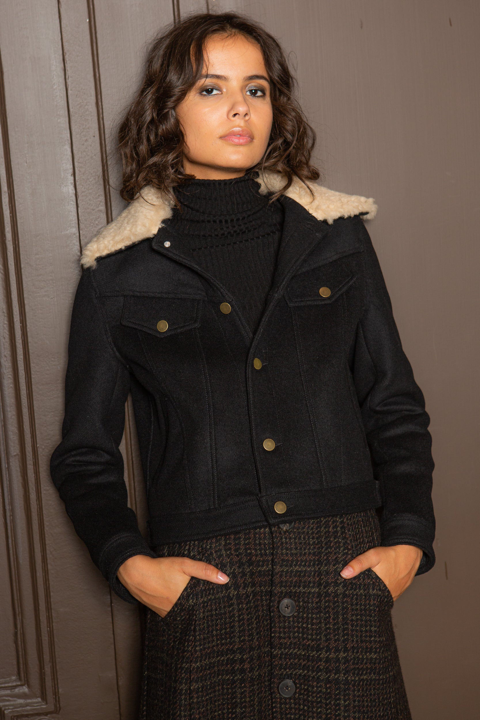 SHORT BLOUSON WITH SHEARLING COLLAR