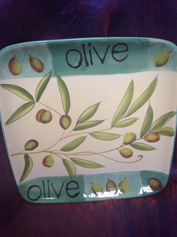 "Cypress Haindpainted Ceramic 10.5"" square plate Taste of Italy Olive desgin"