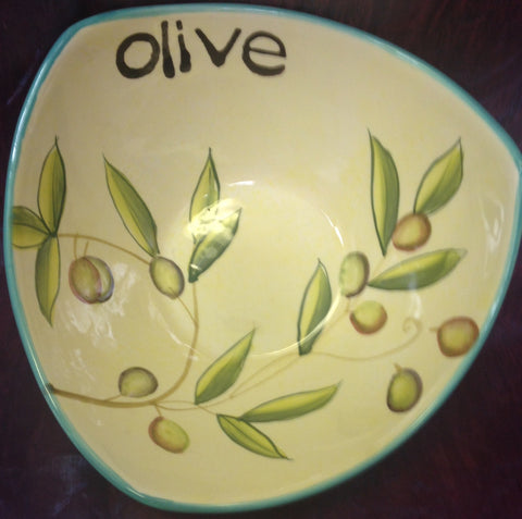 "Cypress Haindpainted Ceramic 7"" Bowl Taste of Italy Olive design"