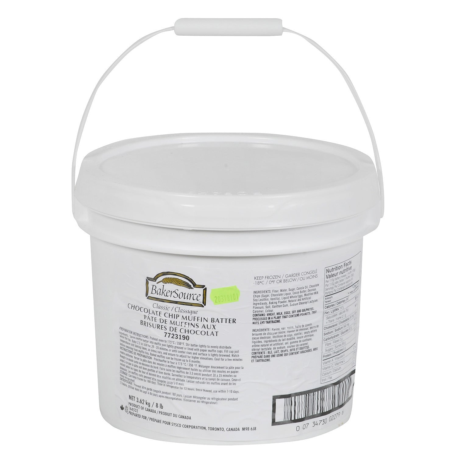 Sysco Bakersource Frozen Chocolate Chip Muffin Batter 3.62 kg - 1 Pack [$16.99/pail]