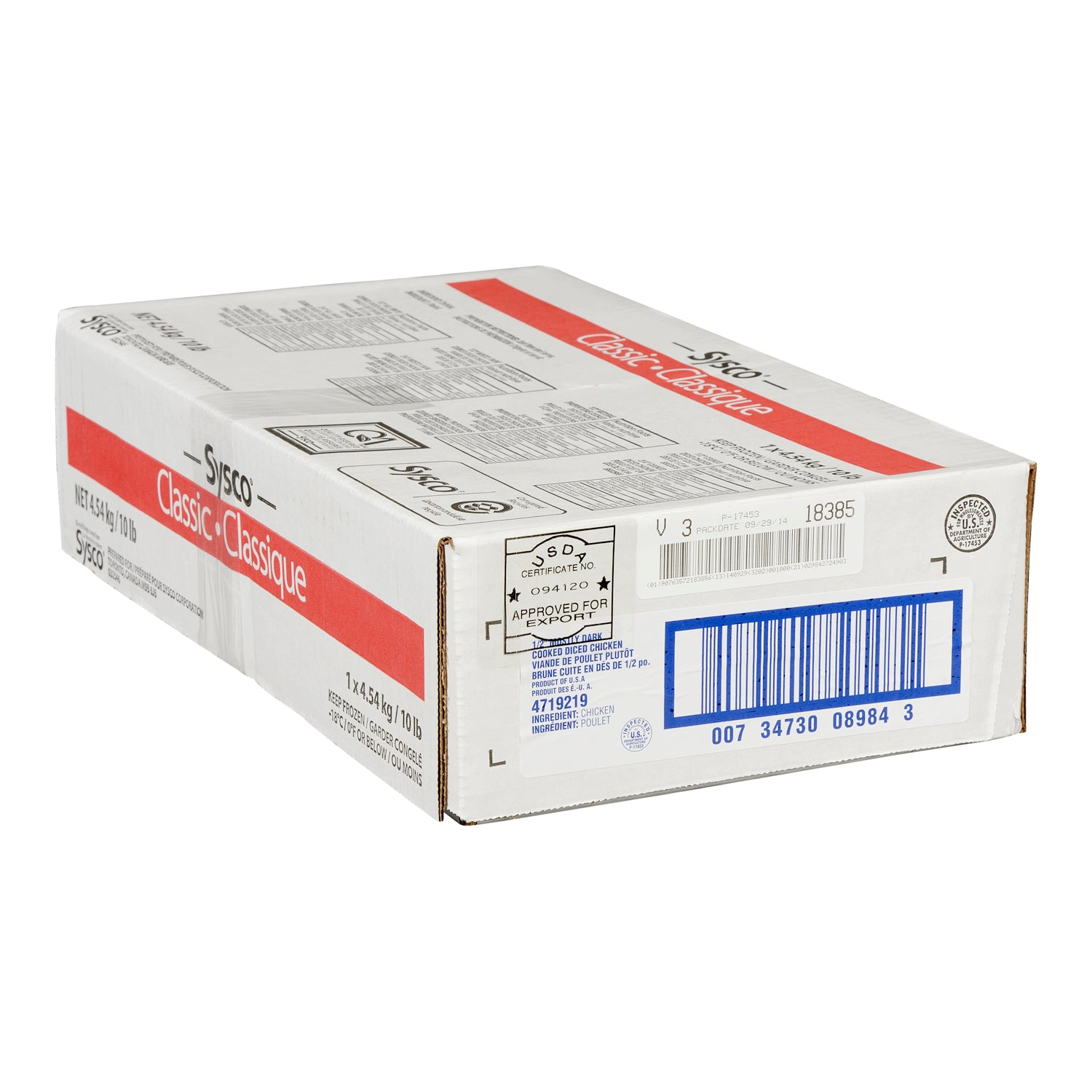Sysco Classic Frozen Diced Chicken 1/2 Dark Meat 2.27 kg Fully Cooked - 2 Pack [$12.22/kg]