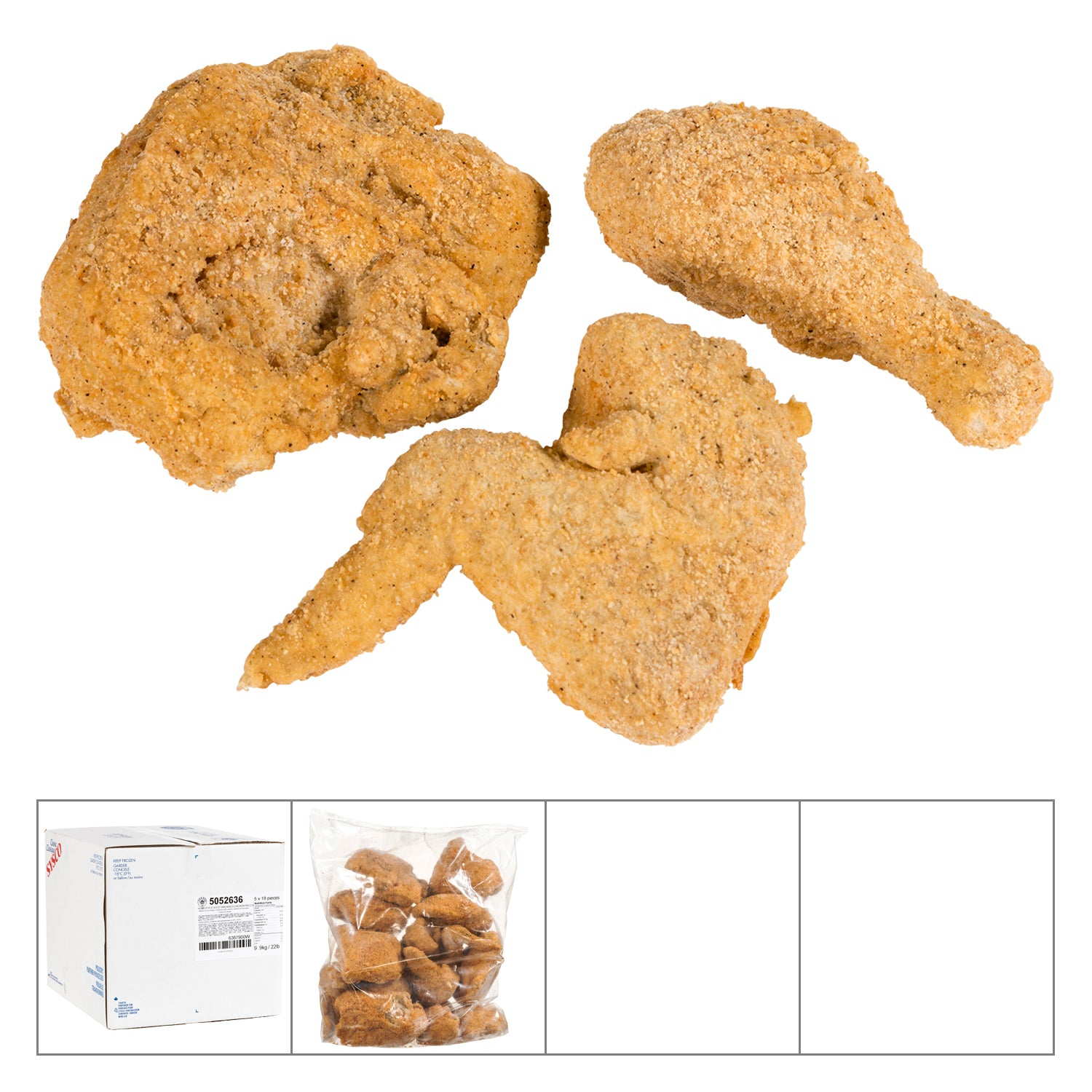 Sysco Classic Frozen Southern Fried Chicken 18 pcs Fully Cooked - 4 Pack [$13.64/kg]