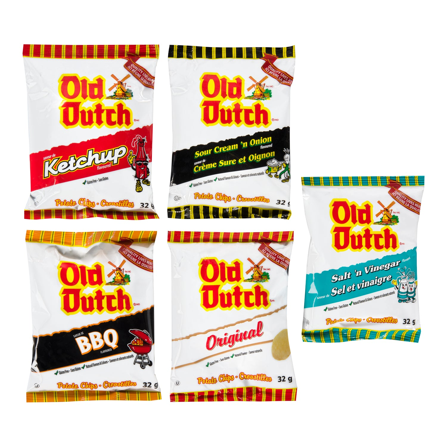 Old Dutch Assorted Potato Chips 32 g - 30 Pack [$0.47/each]