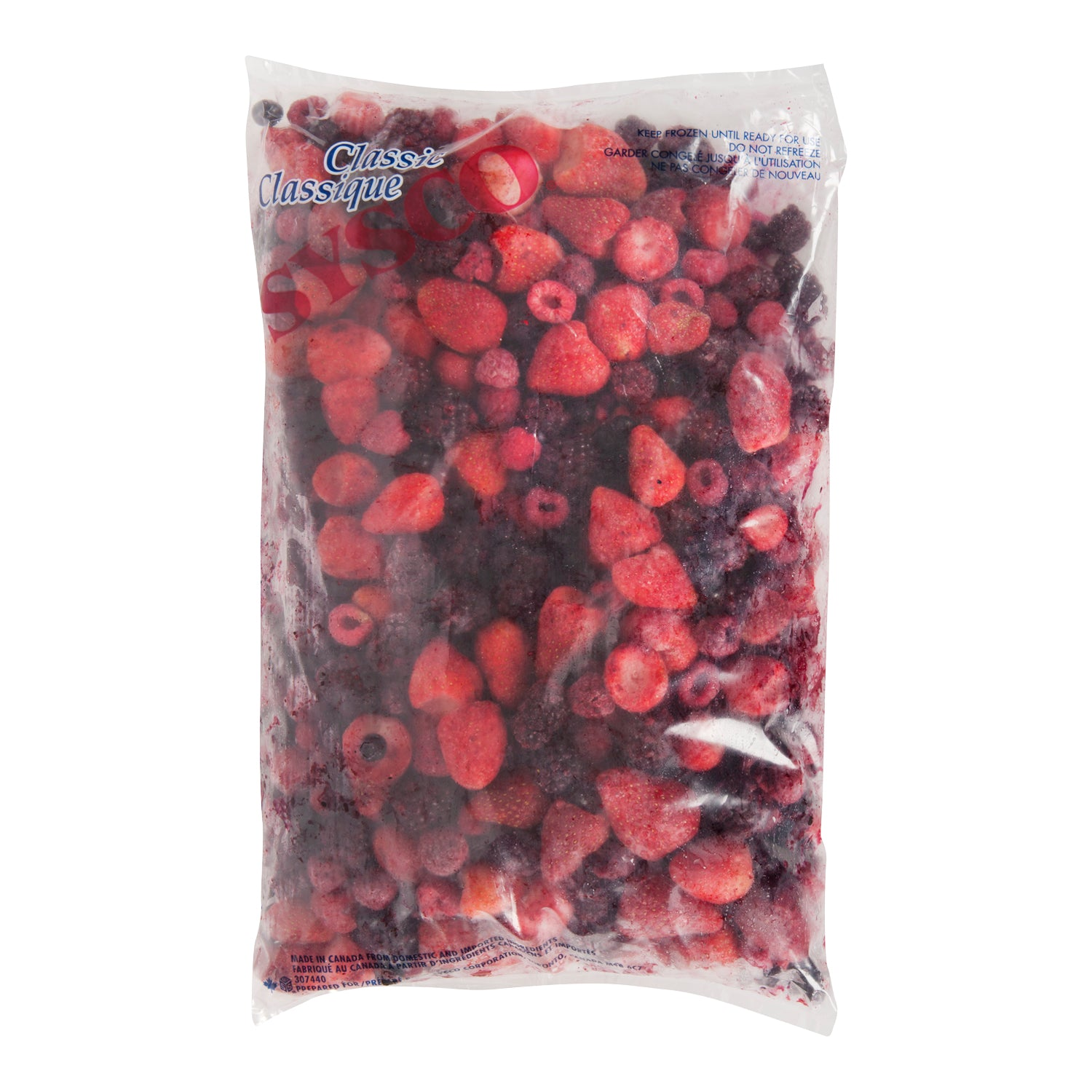 Sysco Classic Individually Quick Frozen Mixed Berry Blend - Blueberries/Blackberries/Strawberries/Raspberries 2.5 kg - 2 Pack [$7.20/kg]