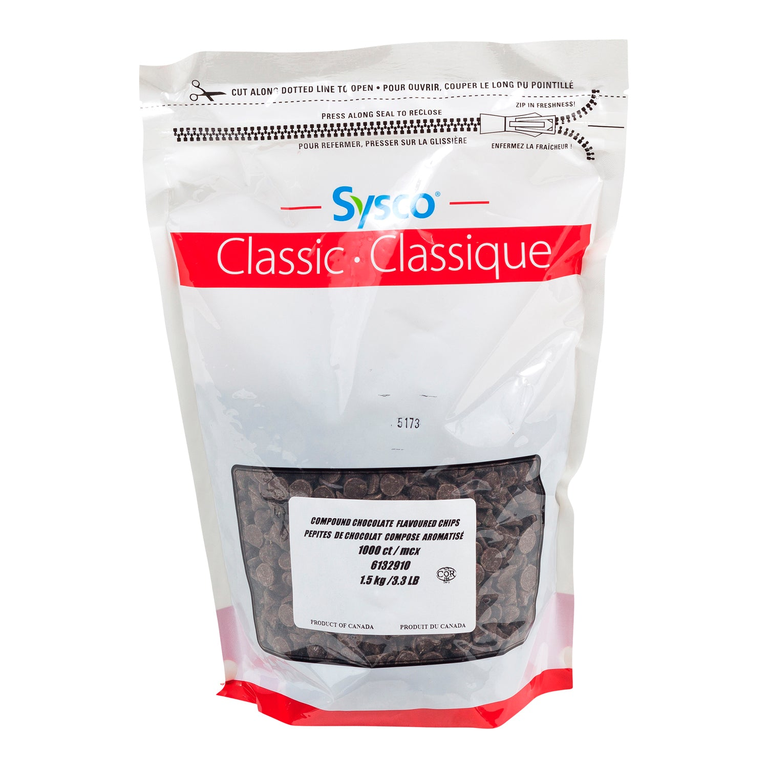 Sysco Classic Chocolate Chip Compound Baking 1.5 kg - 2 Pack [$9.66/kg]