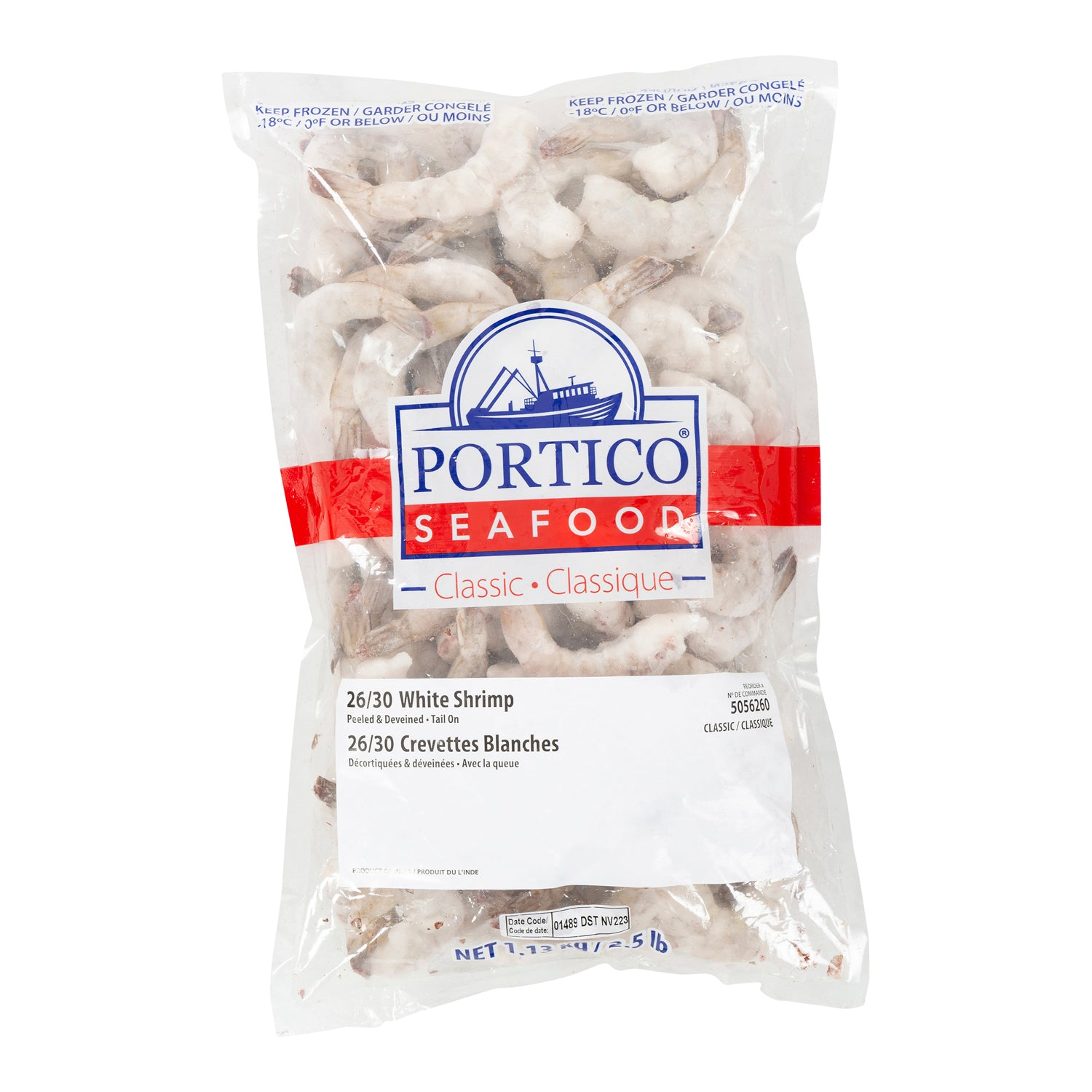Sysco Portico Frozen Raw Extra Large White Shrimp Peeled & Deveined With Tail On (26-30 shrimp per lb) 2.5 lb - 2 Pack [$9.40/lb]