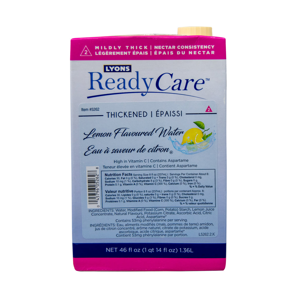 Redy Care Mildly Thickened Lemon Water 46 Oz - 6 Pack [$5.50/ea]