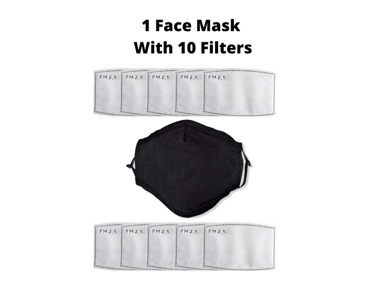 Black Reusable Cloth Face Mask