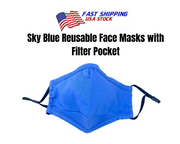 Sky Blue Reusable Cloth Face Mask