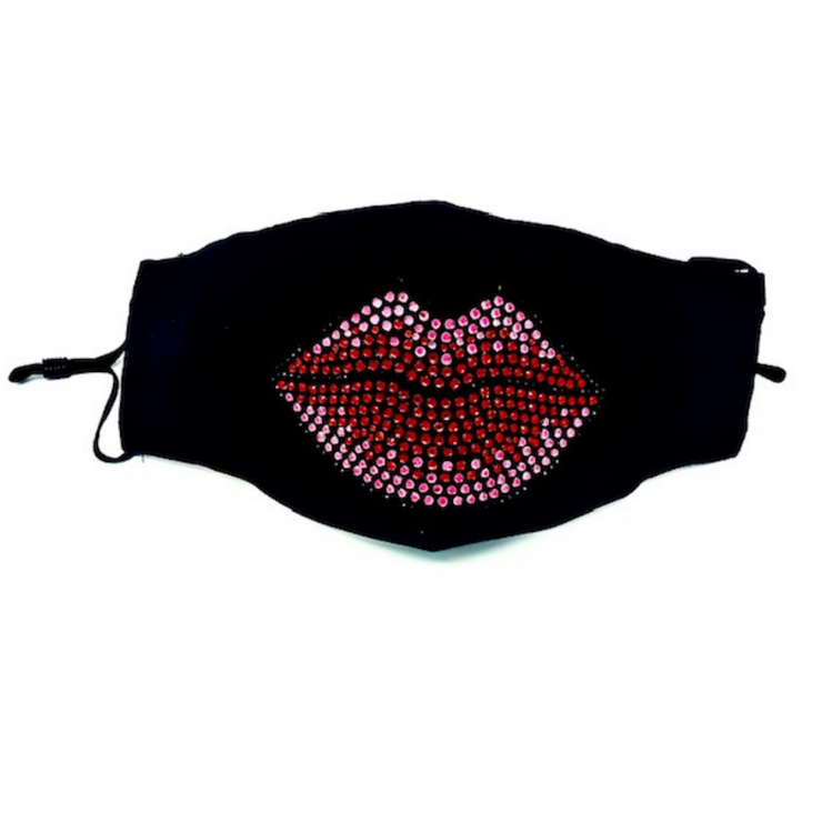 Big Red Lips Bling Face Mask