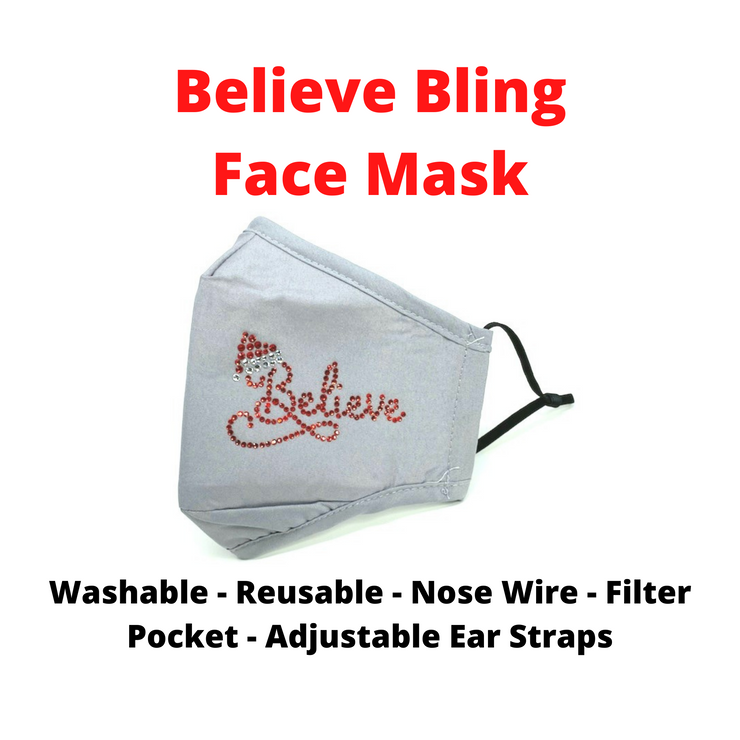 Believe Bling Christmas Face Mask