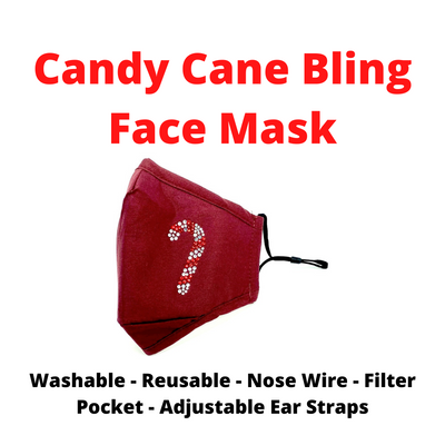 Bling Candy Cane Holiday Face Mask