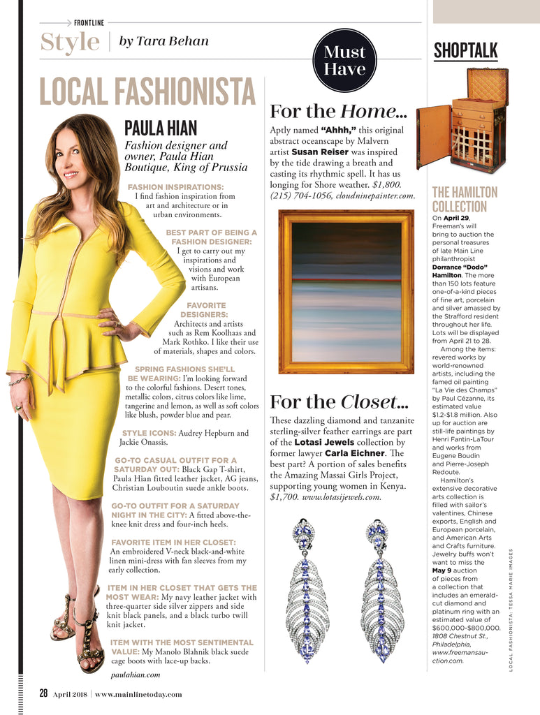 Paula Hian in Main Line Today Magazine