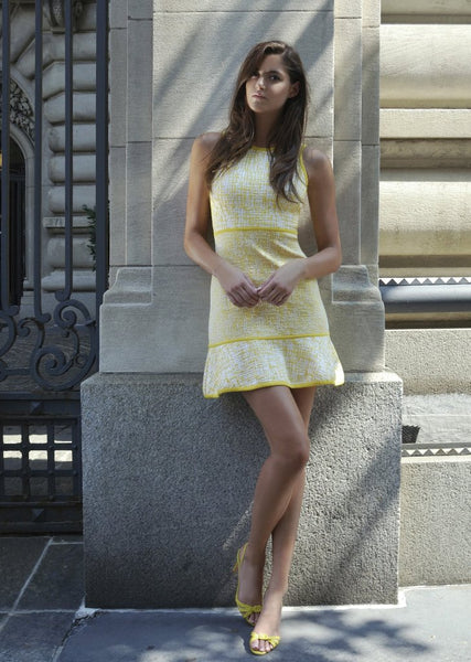 Knitted, Sleeveless, Yellow and Black Dress Sale - White Motif