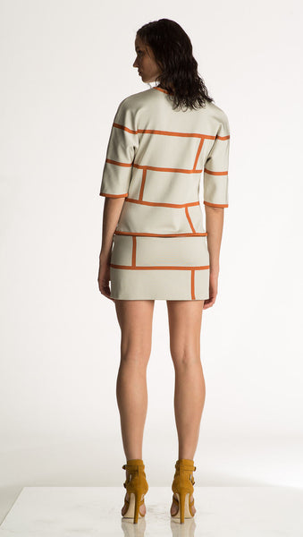 Desirae - Knit, Short Sleeve White Tunic Dress with Orange Motif