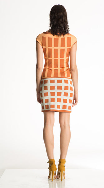 Maxine - Geometric Knitted Orange and White Dress