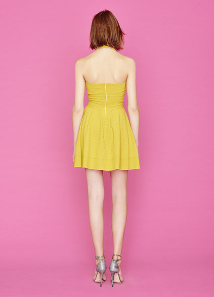 Brette - 3/8 Inch Polka Dot, Sleeveless, Halter Top, Yellow Sundress