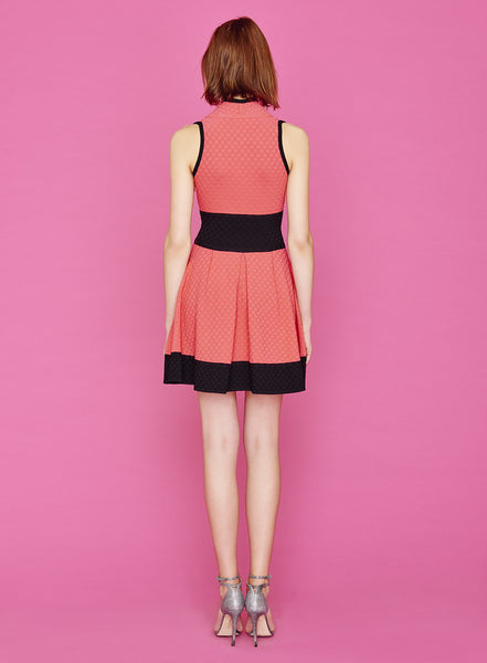 Cheyenne - 3/8 Inch Polka Dot Coral Color Dress with Keyhole, Black Detailing