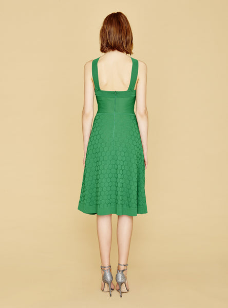 Clarisse - Bold Jade Green Polka Dot Dress with Cross Strap Top