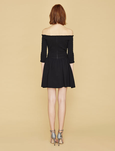 Dianna - Ruched, Black Off The Shouder Dress with Short Sleeve