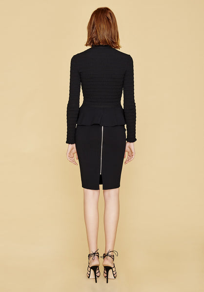 Evelyn - Long Sleeve, Ruched, Black Peplum Blazer Jacket