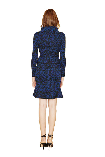 Renee - Black, Navy Blue or White Brocade Trumpet Skirt