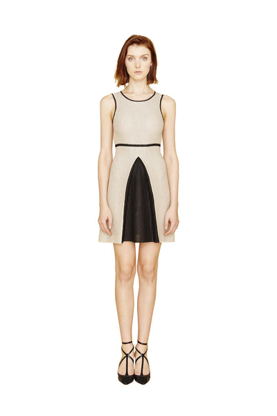 Karine - Pleated White, Black and Tan Color Block Dress