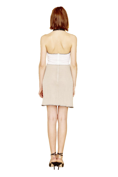 Adriana - Knit, Sleeveless Halter, Sand, Black or Yellow Cocktail Dress