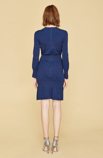 Fayette - Casual, Long Sleeve, Ruched, Knit Navy Blue Dress