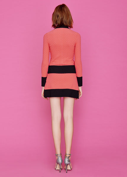 Georgine - Scalloped Coral and Black Polka Dot Wrap Skirt