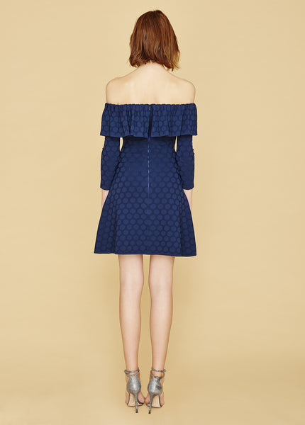 Henrietta - Blue Polka Dot, Bardot Off The Shoulder Ruffle Dress