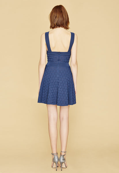 Karla - Polka Dot, French Crepe Knit Navy Blue Swing Dress