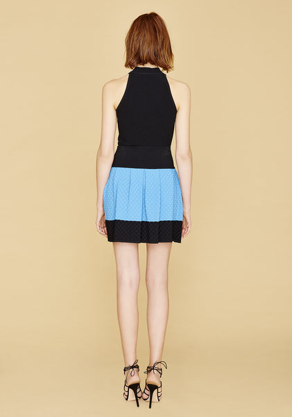 Mirla - Apron Inspired, Bell Shaped, Sky Blue Polka Dot Skirt