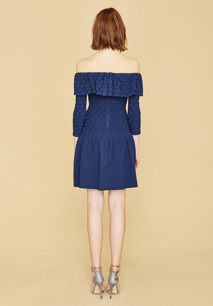 Nancy - Pleated, Navy Blue Polka Dot, Drop Waist, Off Shoulder Dress