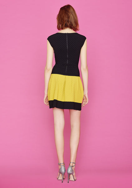 Ophelia - Textured Black Pinafore Jumper, Polka Dot Dress