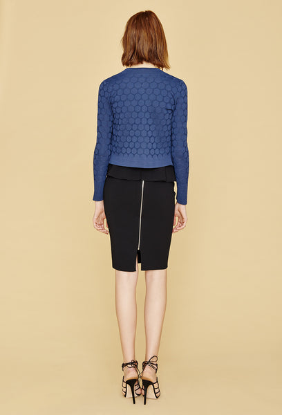Stephanie - Crepe Knit, Cropped Polka Dot Cardigan Sweater with Single Snap