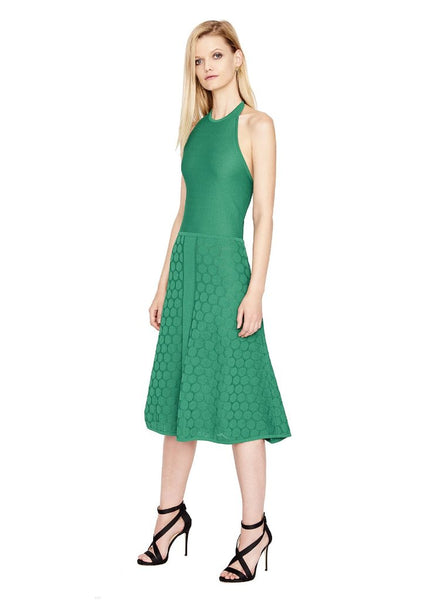Dory - Women's Textured Chartreuse Yellow Polka Dot Midi Dress