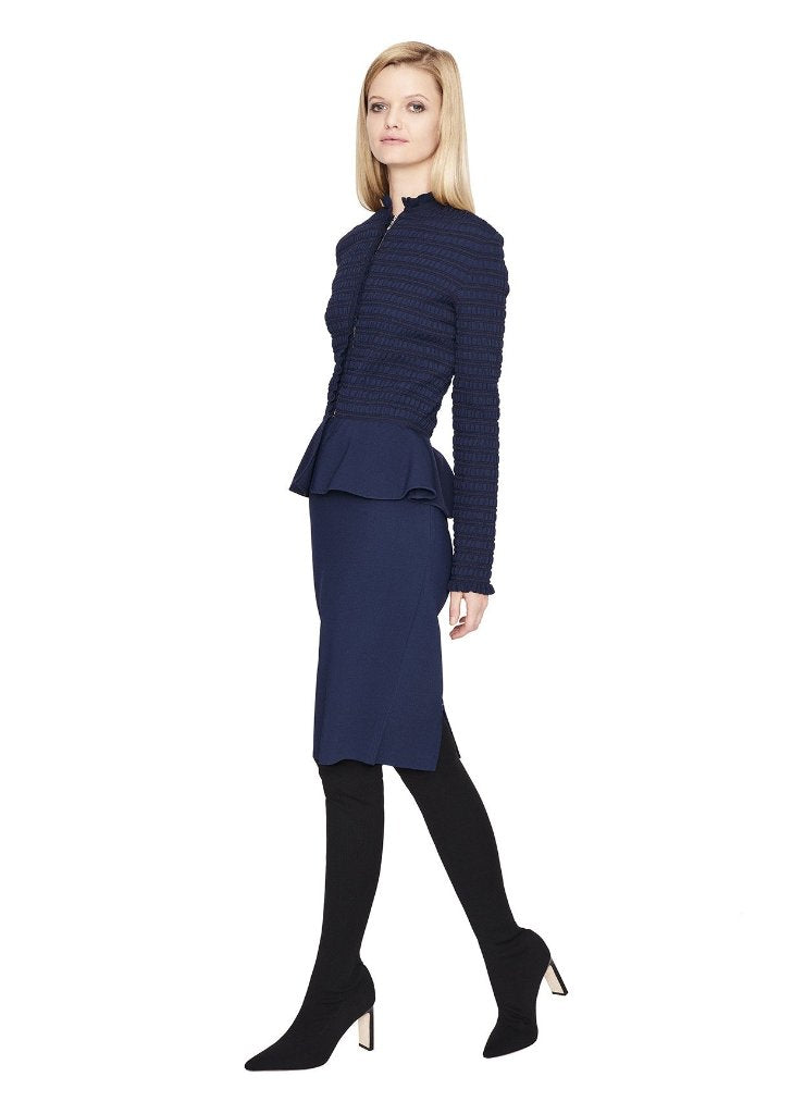 Evelyn - Long Sleeve, Ruched, Navy Blue Peplum Blazer Jacket