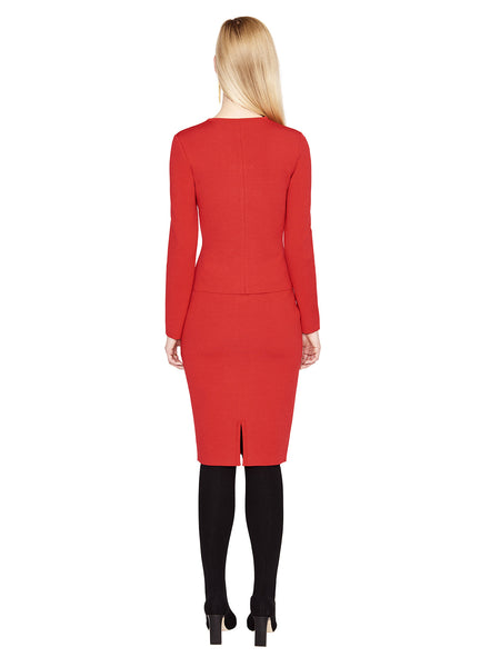 Adalicia - Ruffle Front Geranium Red Pencil Skirt